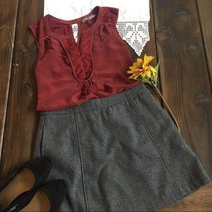 Forever 21 Charcoal Wool Blend mini skirt Size Med